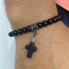Pulseira Masculina Pedras Naturais Onix Com Pingente Cruz mens bracelets fashion style cocar brasil