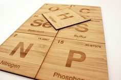 The bamboo Periodic Coasters ($32) are a laser-cut ode to the nonmetals: hydrogen, carbon, nitrogen, phosphorus, oxygen, sulfur, and seleniu...