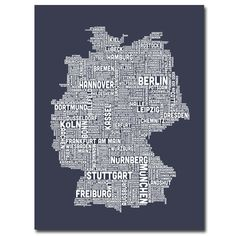 Germany City Map II by Michael Tompsett Textual Art on Wrapped Canvas