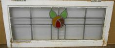 "OLD ENGLISH LEADED STAINED GLASS WINDOW TRANSOM Simple Floral 33.5"" x 15"""