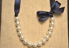 Lily: Beautiful Bride or Bridesmaid Pearl Necklace - White with Navy Ribbon & Bow