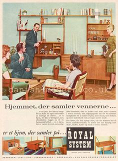 January 1962 Vintage Ad for Royal System Wall Units. Royal System was a Danish brand of modular wall units designed by interior architect Poul Cadovius from 1945 through the Mid Century modern Home Decor Inspiration Mid Century Modern Living Room, Mid Century Art, Mid Century Decor, Mid Century House, Mid Century Modern Design, Mid Century Style, Mid Century Modern Furniture, Retro Furniture, Plywood Furniture