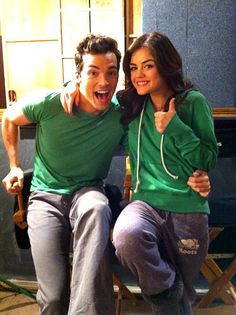 Lucy Hale and Ian Harding omg they are matching makes them even cuter together