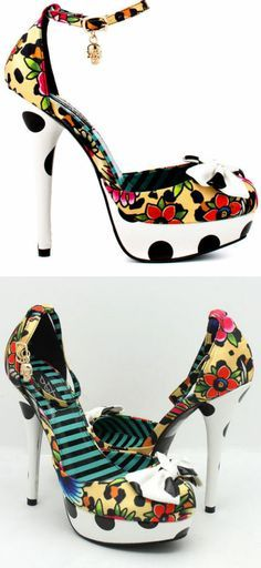 Lounge Days Polka Dot Floral Platform Bow Heels by Iron Fist ♥