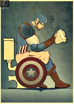 Superhero in bathroom (captain America) Pop Art Posters, Funny Posters, Poster Prints, Superhero Bathroom, Superhero Wall Art, Captain America Poster, Hero Poster, Kids Canvas, Picture Wall