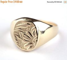 SALE 14K Gold Filled Flower etching Signet ring, 14K Gold plated Flower etching Signet ring, Pinkie Seal ring