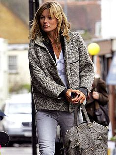 On her way to a London pub Monday, Kate Moss models a comfy and casual look.