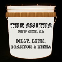 This bucket light is personalized with your family surname, hometown and individual family member names or any combination of these. The font is athletic.