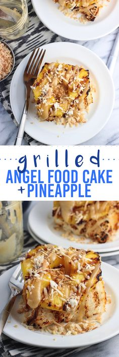 Grilled angel food cake slices are stacked high with grilled pineapple slices, toasted coconut flakes, and drizzles of caramel sauce for a tropical dessert.