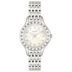 Timex Women's T2M572 Diamond Accented Silver-Tone Stainless Steel Bracelet Watch *** Want additional info? Click on the image.