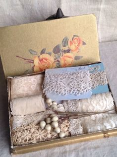 Antique Laces Wax Flowers & Vintage Box / Bobbin, Needlepoint Fillet laces / 9pc / Dolls Bears Period Costume Vintage Wedding Something Old by BrocanteArt on Etsy