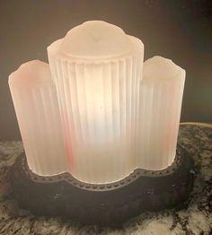 ~~VINTAGE ART DECO PINK AND BLACK GLASS BOUDOIR LAMP~MAGNIFICENT!