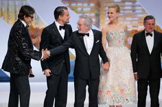 From left, actors Amitabh Bachchan, Leonardo DiCaprio, director and jury president Steven Spielberg, actress Nicole Kidman and actor Daniel Auteuil stand on stage as the jury is presented during the opening ceremony ahead of the screening of The Great Gatsby at the 66th international film festival,
