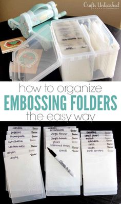 How to Organize Embossing Folders - Crafts Unleashed This simple system is the best way to store & organize your embossing… Scrapbook Storage, Scrapbook Organization, Craft Organization, Scrapbook Rooms, Organizing Tips, Scrapbook Supplies, Organising, Organization Quotes, Ribbon Organization