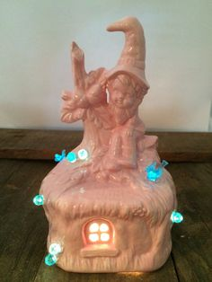 Pink Gnome Nightlight with Blue Fairies and by CeramicRevival