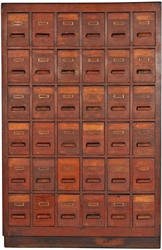 Rejuvenation Massive Oak 36-Drawer Apothecary Cabinet