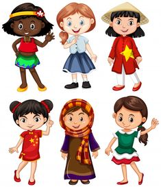 Girls from different countries greeting Premium Vector Harmony Day, Kids Vector, Vector Free, Les Continents, Different Countries, European Languages, Human Drawing, Graduation Diy, World Crafts