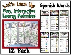Let's Lace Up – Learning Spanish Set - Are your students learning Spanish? These are great hands on, self-checking, interactive activities for your Spanish learning students. Students will have fun matching and lacing as they practice every day Spanish words.