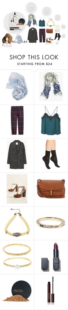"""""""Day to night look"""" by a-anja ❤ liked on Polyvore featuring J.Crew, MANGO, Peony & Moss, BC Footwear, GUESS, Ben-Amun, Elizabeth and James, Accessorize, INIKA and Hourglass Cosmetics"""