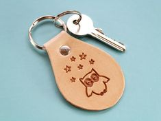 Click To Shop Now – Handmade Leather Keyring, Leather Keychain, Why not check out my Etsy shop? #owl #stars #keyring #leather #keychain #animal #handstamped #birthdaygift #christmasgift Leather Bookmark, Leather Keyring, Leather Gifts, Handmade Leather, Leather Craft, Cute Best Friend Gifts, Gifts For Dad, Gifts For Friends, Leather Anniversary Gift