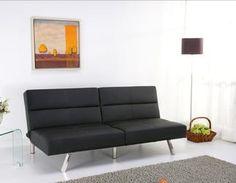 sleek modern 3-position convertible futon sofa