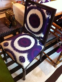 Tory Burch KoP Louis XVI Square Back Dining Chair Upholstered in Purple Suzani Fabric