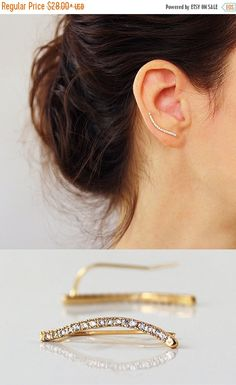 SUMMER SALE Gold Ear cuff  with Cubic Zirconia by sigalitaJD