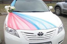 Beautiful way to incorporate color bands with flowers across the hood!