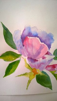 Watercolor print of  flower with pink purple and by Mermaidswings, $15.00