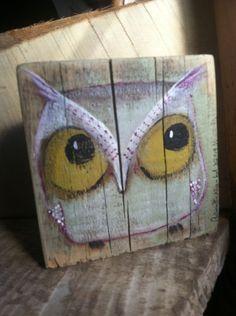 Original folk art painting owl by Annette Gambrel
