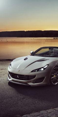 Car, sports car, white Ferrari Portofino, 1080x2160 wallpaper