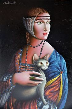 Lady With An Ermine, Unique Paintings, Cat Paintings, Famous Artwork, Global Art, Woman Painting, Art Market, Comic Art, Oil On Canvas