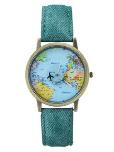 Faux Leather World Map Airplane Watch