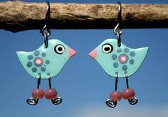 Handpainted artisan blue bird earrings by HorakovaDesigns on Etsy, $21.00