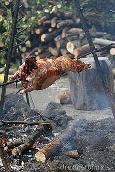 Roast goat or lamb on a spit