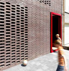 detail shot of the prefabricated brick panels that form decorative