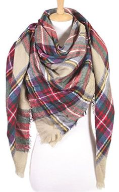 Funky Junque's Checker Tartan Pattern Beige Plaid Blanket Scarf Wrap Cape Shawl. GREAT LOOK: This awesomely transitional winter scarf will accentuate your look no matter the outfit. With frayed edges, layer this scarf with your favorite shirt and winter vest, or throw it on with a stylish leather jacket. Perfect with your dressiest cashmere and wool sweaters, as well as your everyday yoga pants, messy bun and sunglasses!. GREAT FIT: One size fits most. This checkered women's blanket scarf is…