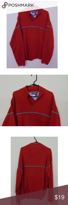 Tommy Hilfiger Mens 2XL 1 4 Zip Sweater Jacket Tommy Hilfiger Mens 2XL 1 4  Zip Pullover Sweater Jacket Striped Red Casual  69 Gently pre-owned  condition No ... ce5e169725b3d