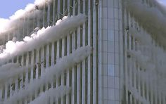 People hanging from the windows of the World Trade Center North Tower, September 11, 2001