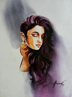 47 Ideas Drawing Pencil Portrait Girls Beautiful For 2019 Indian Women Painting, Indian Art Paintings, Digital Paintings, Watercolor Art Face, Watercolor Portraits, Watercolor Pencils, Pencil Portrait, Portrait Art, Portrait Ideas