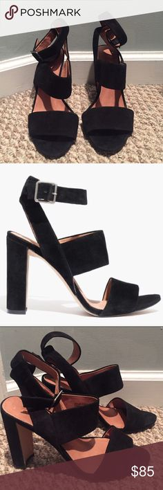 Madewell Suede Black Sandals A stunner of a sandal in soft, rich suede. The high crescent heel and wide triple strap have a clean, graphic line that looks great over tights. Suede shoes and heels are in great quality, a little wear on the sole. Madewell Shoes Sandals