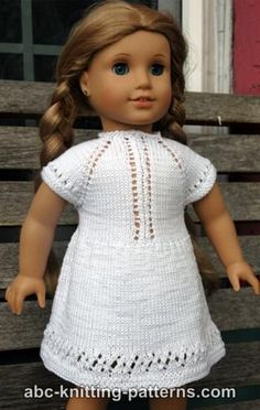 ABC Knitting Patterns - American Girl Doll Midsummer Dress This is a free knitting pattern. Knitting Dolls Clothes, Baby Doll Clothes, Crochet Doll Clothes, Doll Clothes Patterns, Clothing Patterns, Knitted Doll Patterns, Knitted Dolls, Knitting Patterns, Free Knitting
