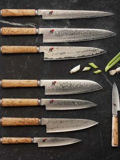 I love cooking...and I love good design. The gorgeous Miyabi collection of knives from knife giant Zwilling JA Henckels are Made in Seki, Japan and designed by superstar chef Rokusaburo Michiba and one of his disciples, Masaharu Morimoto - I currently have one of these in a large Chefs knife and would LOVE more.