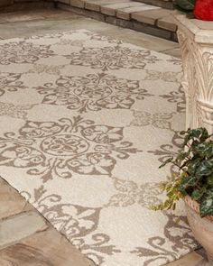 """Kennedy"" Outdoor Rug at Horchow. Hand-hooked polypropylene rug complements any interior yet is outdoor safe. UV protected and mildew resistant. *Indoor/Outdoor*"