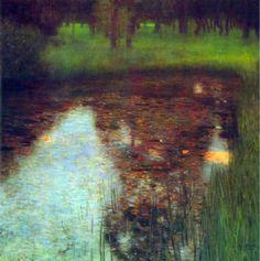 Reproduction de Klimt, Le marais. Tableau peint à la main dans nos ateliers. Peinture à l'huile sur toile.
