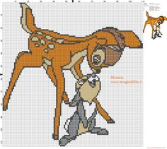 Bambi and Thumper 2 cross stitch pattern - free cross stitch patterns simple unique alphabets baby Cross Stitch Fairy, Cross Stitch For Kids, Cross Stitch Animals, Disney Cross Stitch Patterns, Cross Stitch Charts, Cross Stitch Designs, Cross Stitching, Cross Stitch Embroidery, Embroidery Patterns