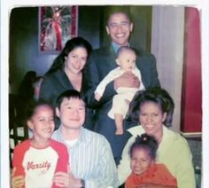 The future President and First Lady, their daughters Malia and Sasha and the President's sister, Maya Soetoro-Ng, her husband and their child, Suhalia.