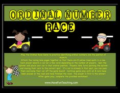 Using this Ordinal Numbers Racecar Activity, students practice identifying ordinal numbers and the position of objects. Ordinal Numbers, Have Fun Teaching, Student Drawing, Sequencing Activities, Number Worksheets, Number Games, Following Directions, Number Sense, First They Came