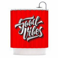 """Roberlan """"Good Vibes 2016 """" Red Typography Shower Curtain"""