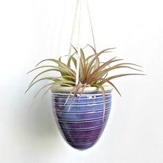 Petite Ceramic Hanging Planter Purple Pottery Planter by ZozPots